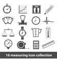16 measuring icon collection vector image vector image