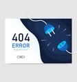 404 error page not found with plug graphic vector image vector image