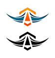 airplane logo latter a around icon vector image