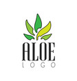 aloe logo natural product badge organic vector image vector image