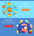 amusement park 2 flat interactive banners vector image vector image