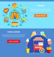 amusement park 2 flat interactive banners vector image vector image