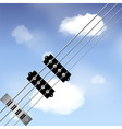 Bass guitar strings over sky vector image vector image