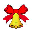 bell with red bow vector image