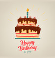 birthday poster with chocolate cake on background vector image vector image