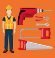builder character with construction equipment vector image vector image