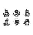 burger fast food logo or icon emblem label for vector image vector image