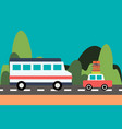 bus and car drive on the road on nature background vector image vector image