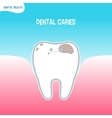 Cartoon bad tooth icon with dental caries vector image