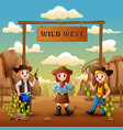 cartoon cowboys and cowgirl in wild west vector image vector image