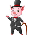 cartoon happy pig dressed up in black tuxedo with vector image