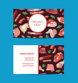 cartoon meat elements business card vector image vector image