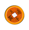 chinese coin color sketch vector image