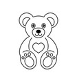 cute teddy bear outline logo design vector image