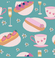 eclair pastry champagne and teacups on vector image