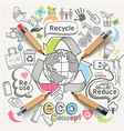 eco concept thinking doodles icons set vector image vector image