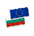 flags of bulgaria and european union on a white vector image vector image