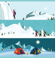 flat banner set of ice climber vector image
