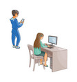 flat girl using pc boy with smartphone vector image