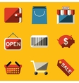 Flat icon set Shop vector image