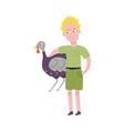 flat teen boy hugging turkey domestic bird vector image