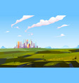 futuristic city in green valley among mountains vector image vector image