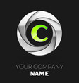 green letter c logo symbol in the silver circle vector image vector image