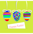 Hanging easter eggs and greeting card vector image vector image