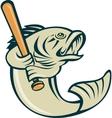 largemouth bass fish batting vector image vector image