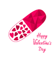 Medical pill with hearts Happy Valentines Day vector image