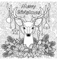 merry christmas deer on doodle seamless background vector image vector image