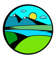 mountain lake with high mountain icon vector image vector image