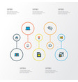 multimedia icons colored line set with comment vector image vector image