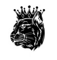 panther in crown design vector image vector image