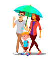 parents in the rain holding an umbrella over child vector image