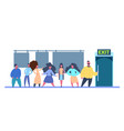 people group going to exit door from fitting room vector image