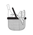 picnic basket sketch vector image