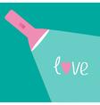 Pink flashlight and ray of light Flat design Love