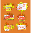 prices off on thanksgiving day exclusive offer set vector image vector image
