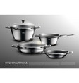 realistic kitchen cookware set vector image vector image