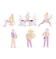 rock and orchestra musicians isolated characters vector image