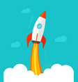 rocket ship flying flat vector image vector image