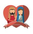 saint joseph and virgin mary icon vector image