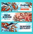 seafood restaurant banners sketch set vector image vector image