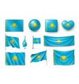 set kazakhstan flags banners banners symbols vector image vector image