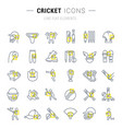 set line icons cricket vector image vector image