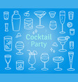 set of cocktails and alcohol drinks vector image vector image