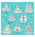 set of different icons of christmas trees vector image vector image