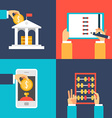 Set of Flat Design Business Bank Organizer Pay vector image