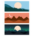 set of landscape sky mountains banners horizontal vector image
